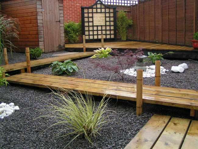 senderos madera jardin