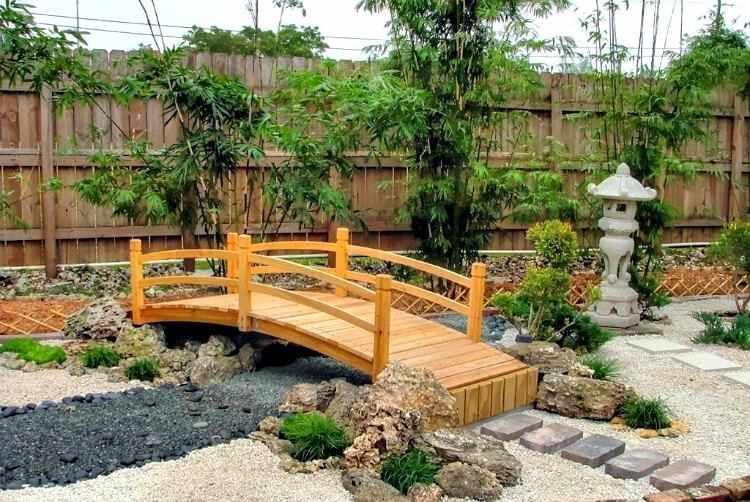 Puente de madera para jardin para estanque modelos tipos for Plantas para jardin japones